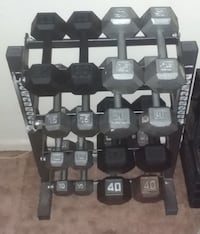 Complete Set Hex Iron Dumbbells with Rack: 374 Pounds Total (10 - 40)