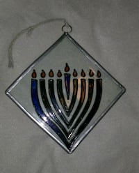 "Menorah Stained Glass Ornament 4""x4"" 1621 mi"