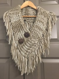 White and brown knit fringed scarf
