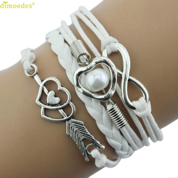 Fashion Infinity Love Heart Pearl Friendship Antique Leather Charm Bracelet BU 67913aca-ae66-4d84-bbd0-b51cbcbfb760