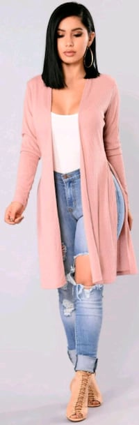 RIBBED LONG SLEEVE DUSTER CARDIGAN WITH SIDE SLIT  Auburn, 98001
