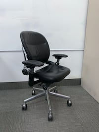 Chair - Ergonomic Chair by Steelcase-Black Leather, Chrome, Tall #50