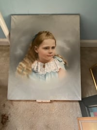 Antique pastel portrait of young girl
