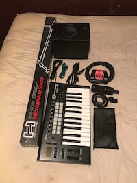 Microphone, microphone stand, launchkey 25, speaker, and cords  Henderson, 27537