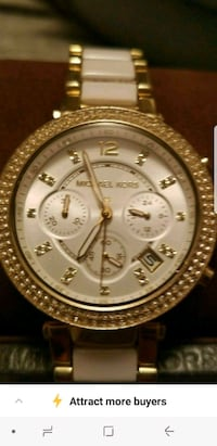 round gold Michael Kors chronograph watch with gold link bracelet Albuquerque