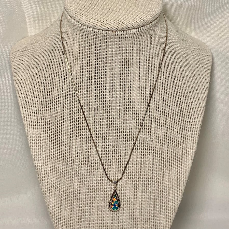 Genuine Navajo  Sterling Silver Opal Pendant with Sterling Rope Chain 1be609d5-01b2-468b-bbed-9b8a27fe8939