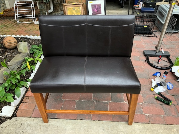 Brown leather bench seat