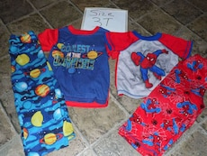 two pairs of size 3T Spider-man and universe print pajama sets