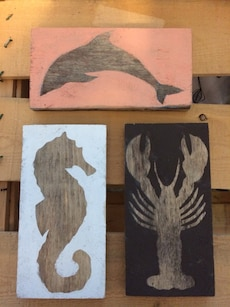 dolphin, seahorse and lobster wall decor
