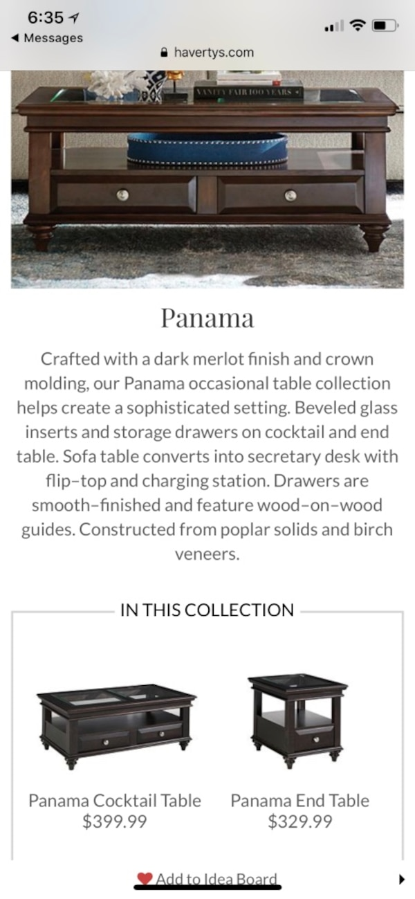 Havertys Panama Collection Coffee And End Tables