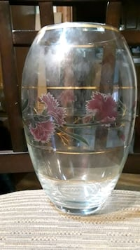 Glass clear vase with floral design and gold trim Weymouth