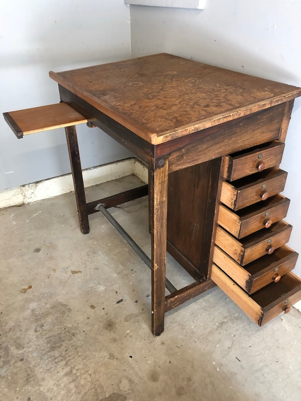 Wooden Drafting Desk With Drawers