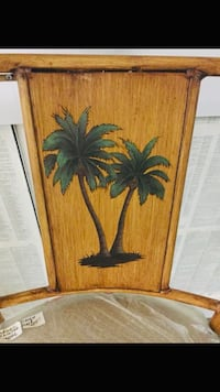 Tropical Swivel Bar Stool with hand painted palms both sides - metal faux bamboo Hampton, 23661