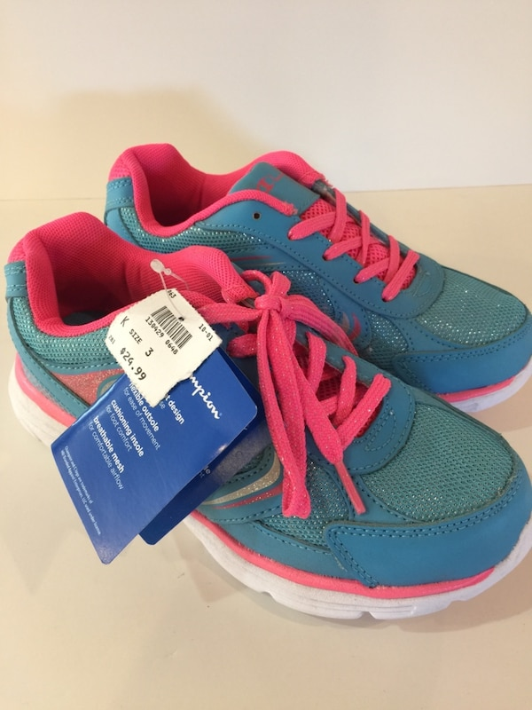 d624338ac0fad Used Girls Champion light blue and bright pink running shoes for sale in  Anaheim - letgo