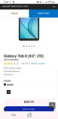 "Galaxy tab E"" tablet"