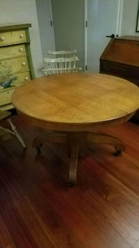 """45"""" Antique Oak Table and Chairs"""