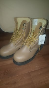 pair of gray leather combat boots Calgary