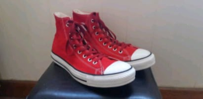 Red Converse High Tops (Size 10)
