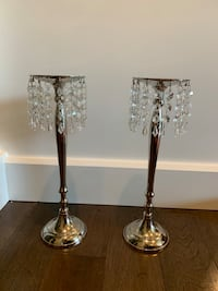 2 candle holders with dangling crystals  Calgary, T3H 0P2