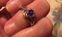 Facited Amethyst Color & Clear Crystal Ring Bear, 19701
