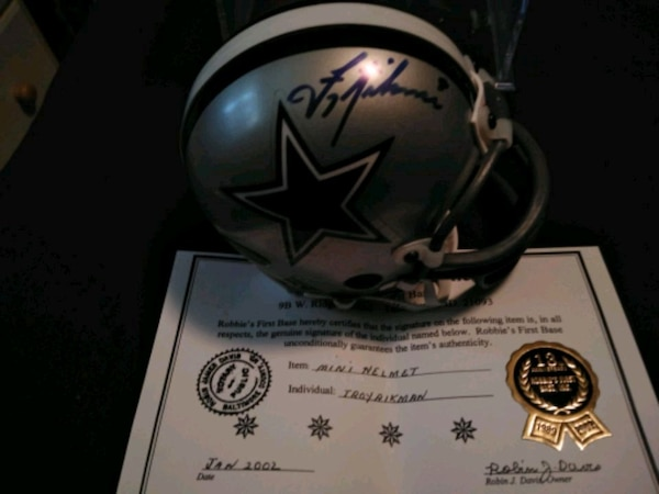 new product 78060 846b3 Troy Aikman autographed mini helmet comes with COA