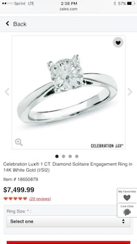 14k white gold diamond solitaire ring. Brand new and with lifetime warranty. Price is negotiable and up for trades like a boat or motorcycle.  770 mi