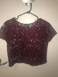 Wine red lace crop top