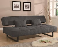 Coaster 300137 Sofa Beds and Futons Contemporary Armless Sofa Bed with Tufted Seat Accent Pillows Included and Sleek Metal Legs in Grey Missouri City