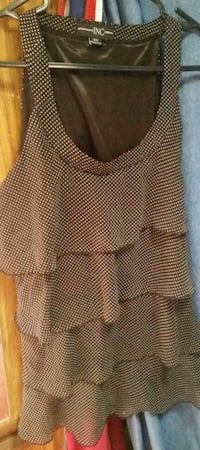 brown and white Inc scoop-neck layered tank top