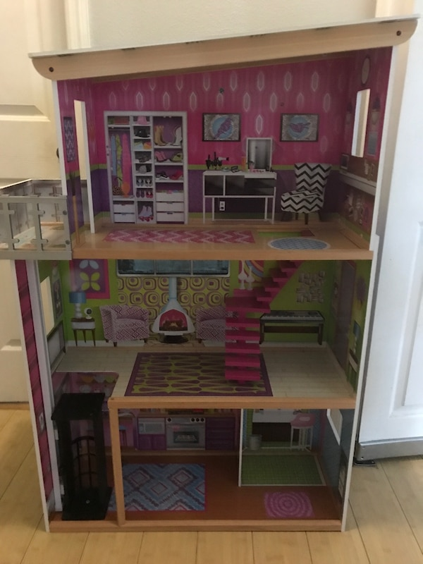 Used Brown Pink And White Wooden Doll House For Sale In