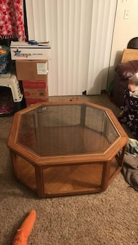 octagonal brown wooden framed glass top coffee table Ankeny, 50021