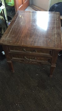 square brown wooden two-drawer side table
