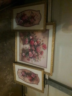 three pink and red flowers photo frames