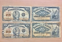 Lot of 4pcs-1900s and 1923 Antique 25c Shinplaster Dominion of Canada Calgary, T2R 0S8