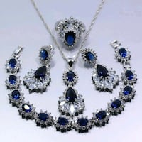 Sapphire and sterling silver set