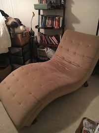 tufted beige suede fainting lounge