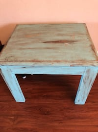 square white and blue wooden side table Jacksonville, 32224