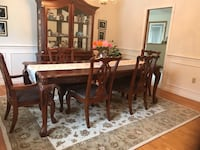 "Formal dinning room set, beautiful solid costume wood carvings, 9 pieces with six chairs, excellent condition like new, few chairs still in it original factory plastic wraps. It was $5999. Asking $1599. 90""x42"", middle extended is 18"". ( easy to add on or Salem, 03053"