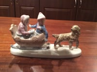"Paul Sebastian porcelain figurine. Vintage 1980's by Mexico. Titled "" Sleigh Ride"" it is a dog pulling girl and boy in sleigh.  Birmingham, 35244"