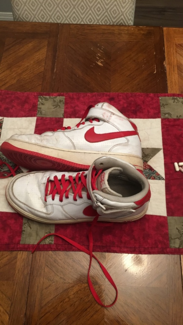 White-and-red nike basketball shoes