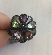 Multicolor gemstone cocktail ring