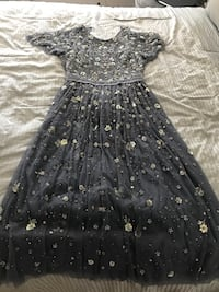 Stunning Needle & Thread Comet dress in vintage blue. Purchased from Intermix in NYC. Still in original packaging- never worn. Beautiful bead work with a sexy open back.  Jersey City, 07302