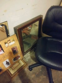 Leather Desk Chair, Mirror, Large Picture Frame