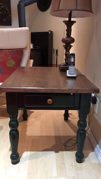 Dark green wooden table with mahogony top single drawer side table