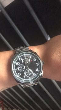 round silver-colored chronograph watch with link bracelet Regina, S4T 3V7