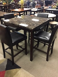 rectangular brown wooden table with six chairs dining set Houston, 77077