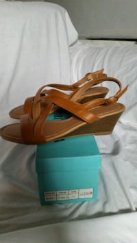 brown leather open-toe wedge North Las Vegas, 89032