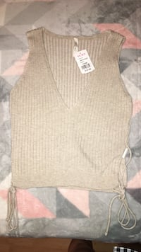 women's brown v-neck sweater Prospect Heights, 60070