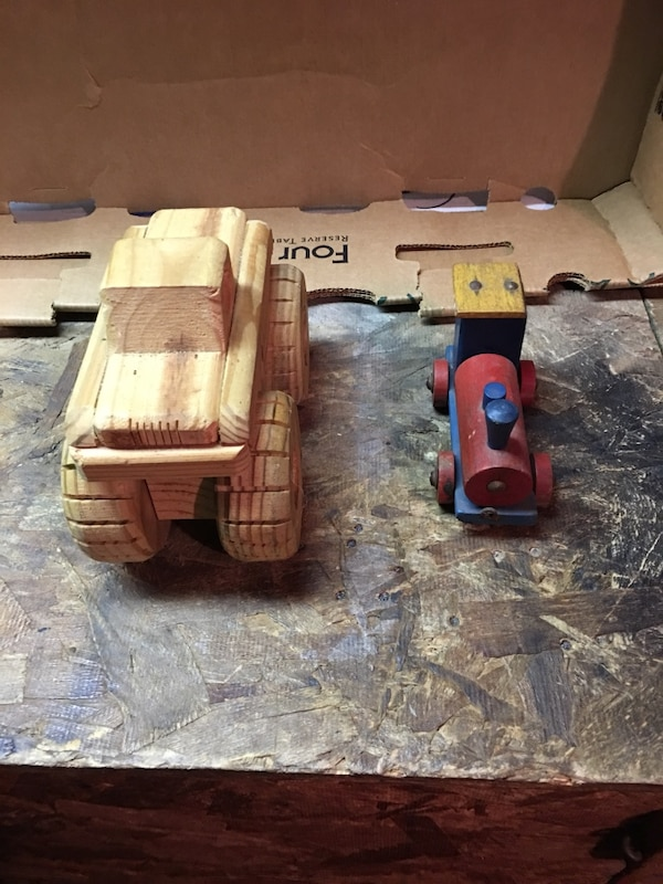 Handcrafted Homemade Wooden Toy Truck And Wooden Steam Engine 12 For Both Of Them