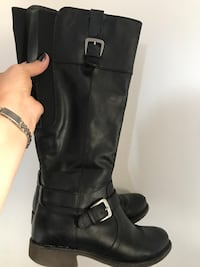 pair of black leather knee-high boots North Vancouver, V7K 1A7